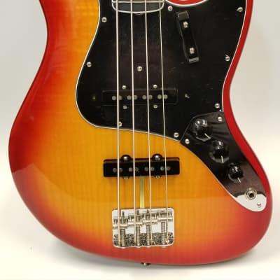 Fender Rarities Flame Ash Top Jazz Electric Bass Guitar, Ebony Fingerboard, Plasma Red Burst  W/Case for sale