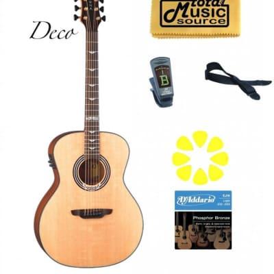 Luna  Art Deco Grand Auditorium A/E Guitar, Solid Spruce Top, ART DECO PACK