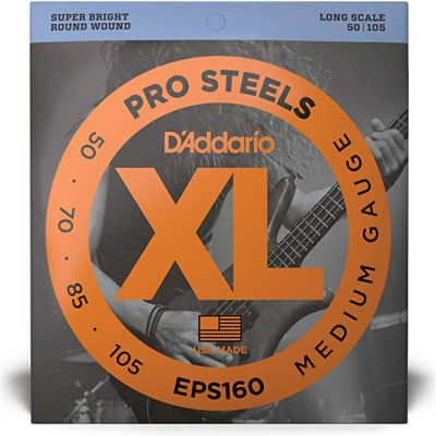 D'Addario EPS160 ProSteels Bass Guitar Strings Medium 50-105 Long Scale
