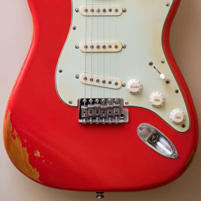 2010 Fender Stratocaster 60s Classic Series  Fiesta Red nitro Relic Mint green guitar - aged for sale