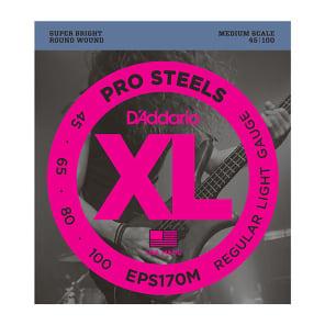 D'Addario EPS170M ProSteels Bass Guitar Strings Light 45-100 Medium Scale