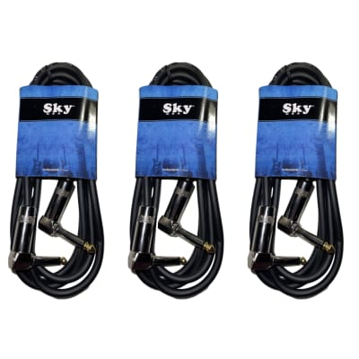 New Sky USA 6 Foot 1/4 Inch Right Angle to Right Angle Patch Instrument Cable - 3 PACK