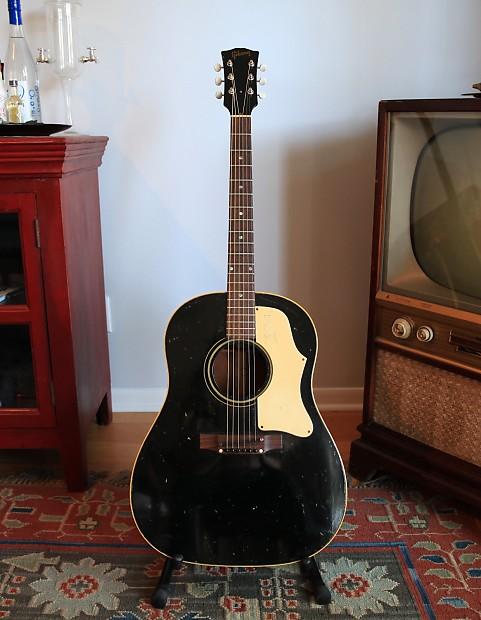 1968 Gibson J 45 Acoustic Guitar RARE Black Ebony W HSC