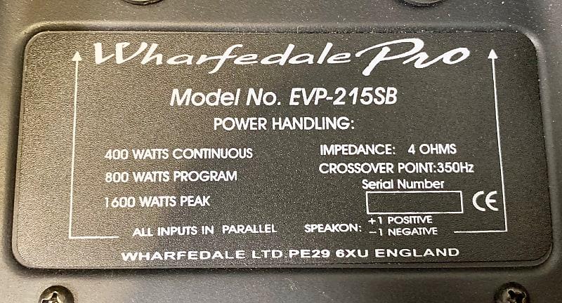 Wharfedale Pro EVP-215SB Sub Crossover Assembly 4 OHM