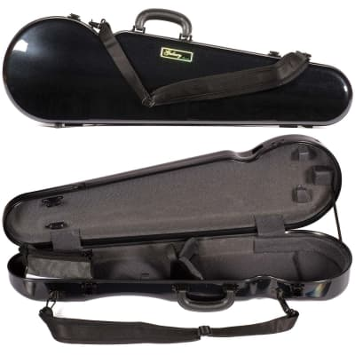 Galaxy Audio Galaxy Comet 300SL Shaped Black Violin Case with Gray interior for sale