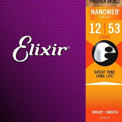 Elixir Nanoweb Acoustic Phosphor Bronze,  Medium 13-56
