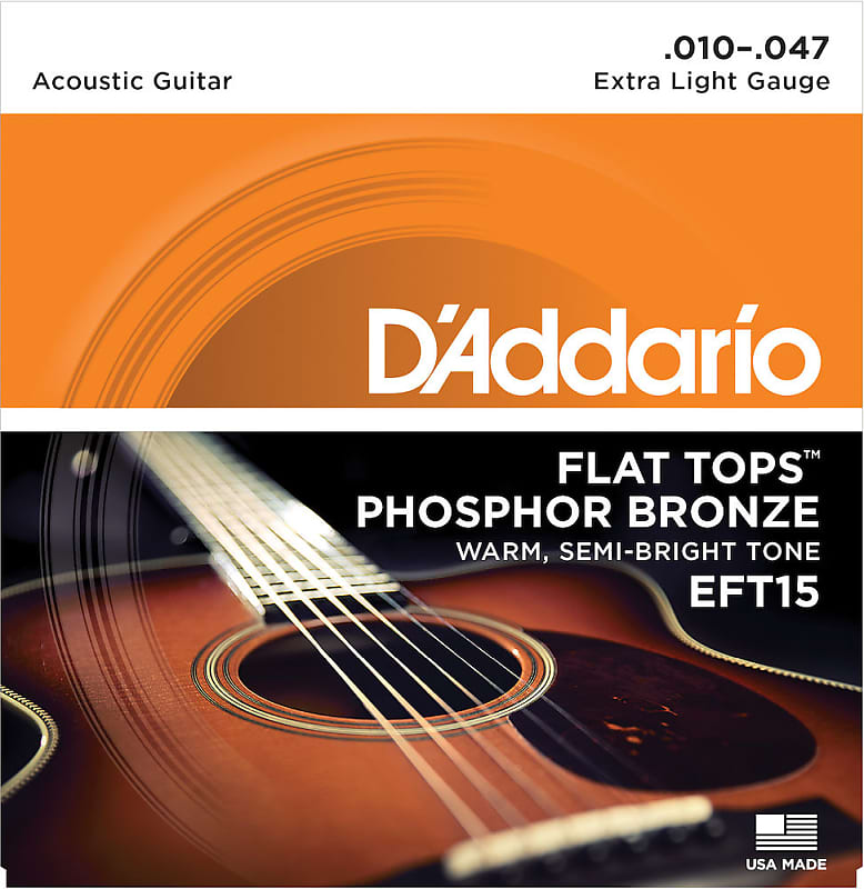 D'Addario EFT15 Flat Top Phosphor Bronze Acoustic Guitar Extra Light Gauge 10-47 Strings