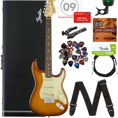 Fender American Performer Stratocaster, Rosewood - Honeyburst Bundle with Hard Case, Gig Bag, Cable, Tuner, Strap, Strings, Picks, Capo, and Austin Bazaar Instructional DVD for sale