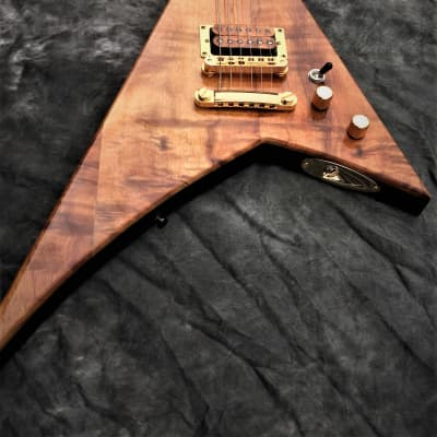 HUGE Sale! Black Diamond USA Randy Rhoads Tribute V Sharkfin Koa/Black(Natural Age Lacquer Checking) for sale