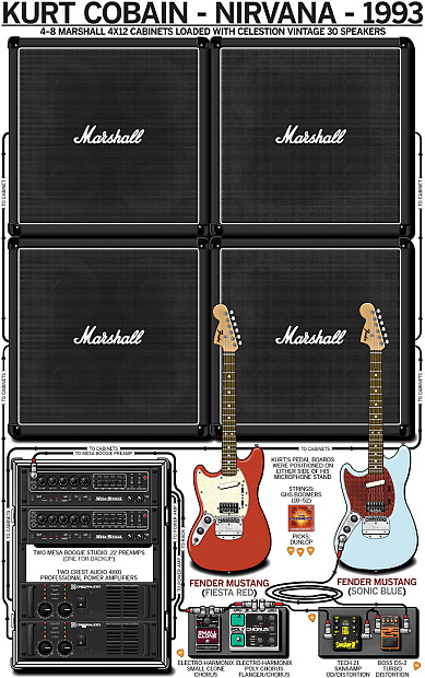 poster of kurt cobain 39 s 1993 nirvana guitar rig reverb. Black Bedroom Furniture Sets. Home Design Ideas