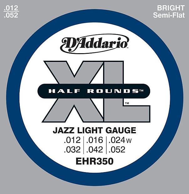 D/'Addario EHR350 Half Rounds Jazz Light Electric Guitar Strings 12-52