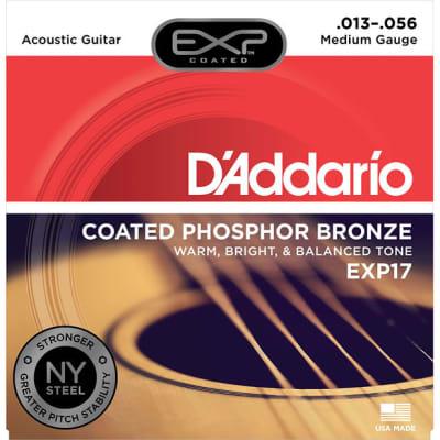 D'Addario EXP17 Coated Phosphor Bronze 13-56 Medium Acoustic Guitar Strings