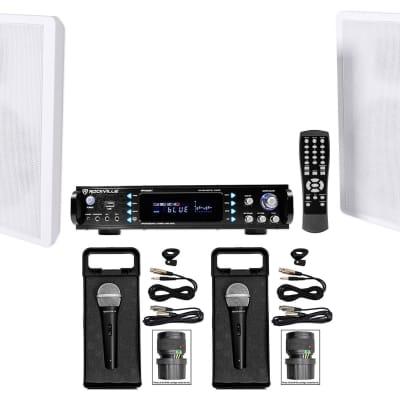 Rockville RPA60BT Bluetooth Karaoke Receiver Amplifier+Wall Speakers+(2) Mics