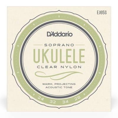 D'Addario EJ65S Clear Nylon Ukulele Strings, Soprano
