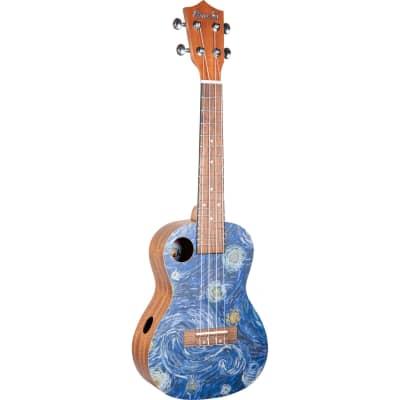 Amahi UKC-3DA4 Masterpiece Series, Van Gogh Starry Night, Concert w/ Bag