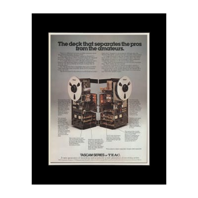 1978 TASCAM Series by TEAC Reel Recorders Original Magazine Ad Double Matted for 11 x 14 Frame