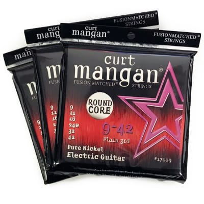 (3 Pack) Curt Mangan Pure Nickel Round Core Electric Guitar Strings (09-42)