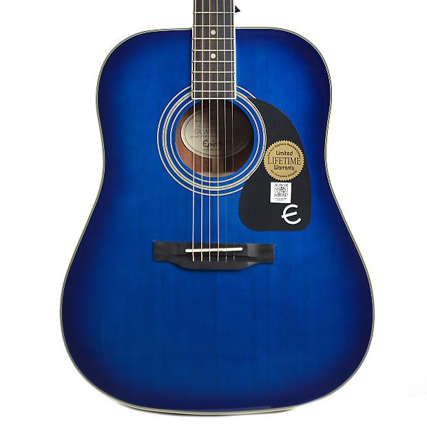 epiphone pro 1 plus dreadnought acoustic trans blue reverb. Black Bedroom Furniture Sets. Home Design Ideas