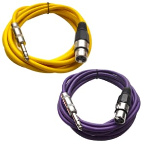 """Seismic Audio SATRXL-F10-YELLOWPURPLE 1/4"""" TRS Male to XLR Female Patch Cables - 10' (2-Pack)"""