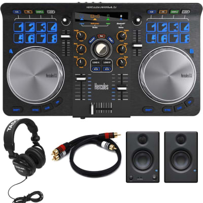 "Hercules Universal DJ Bluetooth DJ Software Controller + PreSonus Eris E3.5 3.5"" 2-Way 25W Nearfield Monitors (Pair) + Tascam TH-02 Studio Headphones and RCA Cable."