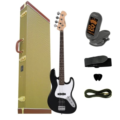 Artist JB2 Black Electric Bass Guitar Plus Accessories + Tweed Case for sale