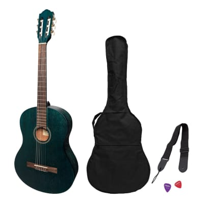 Martinez 'Slim Jim' Full Size Student Classical Guitar Pack with Built In Tuner (Blue) for sale