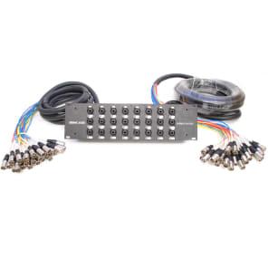 Seismic Audio SARMSS-24x1530 24-Channel Rack Mount XLR/TRS Combo Splitter Snake Cable w/ 15' & 30' XLR Trunks