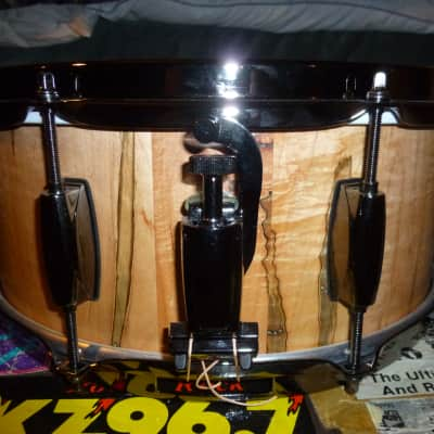 """double A drums 6x14"""" spalted maple snare drum, stave construction, video"""