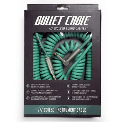 Bullet Cable 30' Foot Coil Instrument Guitar Right Angle Cable - Seafoam Green