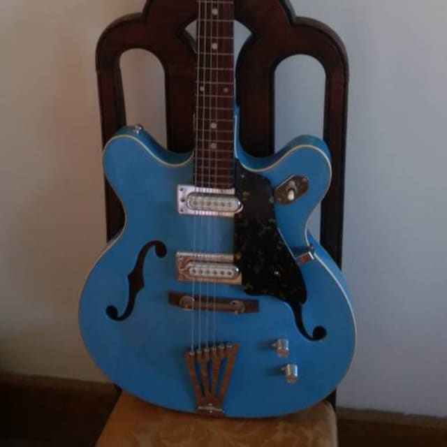 Unbranded Fujigen Semi-Hollowbody  ca.1970 Powder Blue, Japan. image