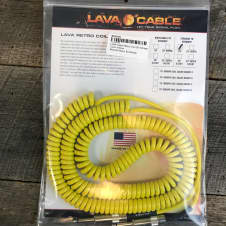 Lava Cable Retro Coil 20' Straight to Straight in Yellow- Ships FREE in USA