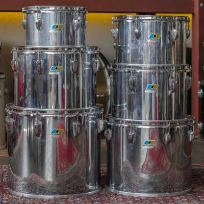 Ludwig 1970s Concert Tom Set in Chrome Over Wood - 6.5x10, 8x12, 9x13, 10x14, 12x15, 14x16
