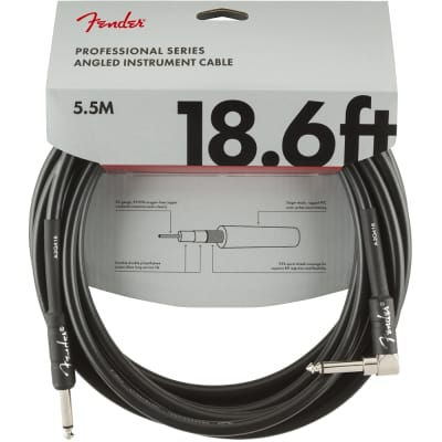 Fender Professional Series Instrument Cable 18.6 ft Straight Angled