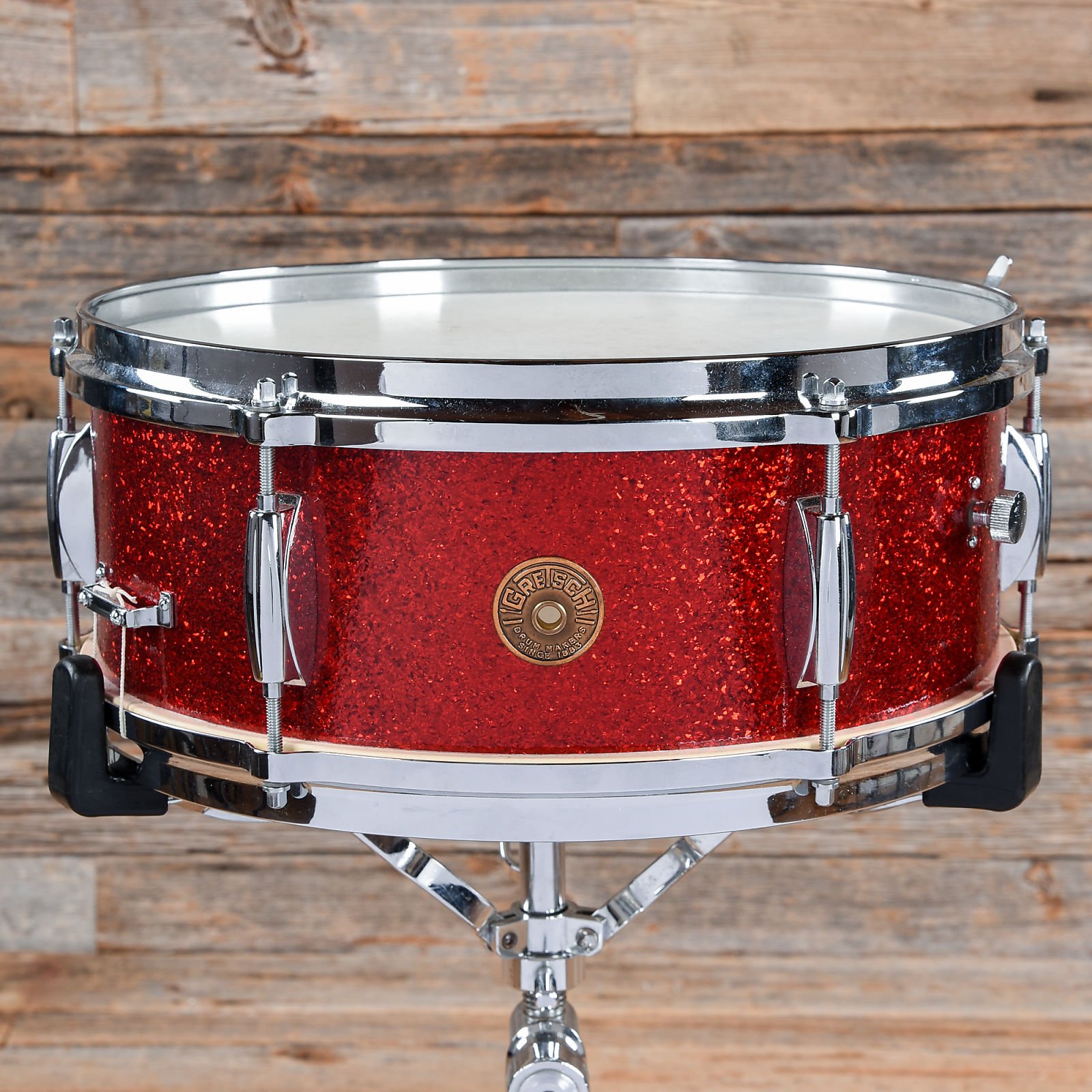 gretsch snare drum red sparkle 1950s used. Black Bedroom Furniture Sets. Home Design Ideas