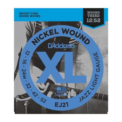 D'Addario XL Nickel Jazz Electric Guitar Strings - EJ21 Jazz Light 12-52