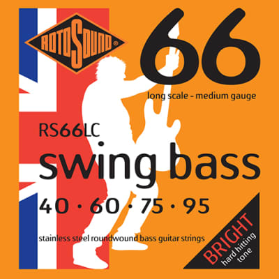 Rotosound- RS66LC, stainless steel, roundwound bass strings, 40-95