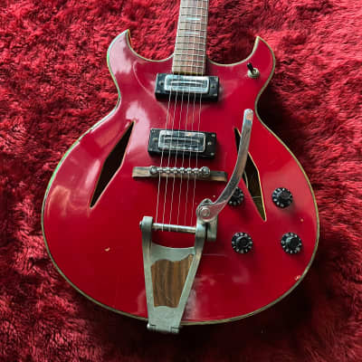 """c.1967- Firstman / Teisco Gengakki Broadway Special MIJ Vintage Hollow Body Guitar   """"Cherry Red"""" for sale"""