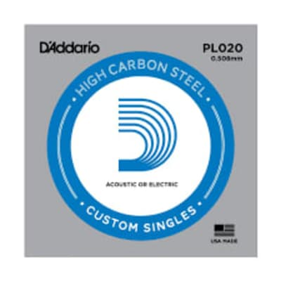 D'Addario PL020 Plain Steel Ball End .020 Single String