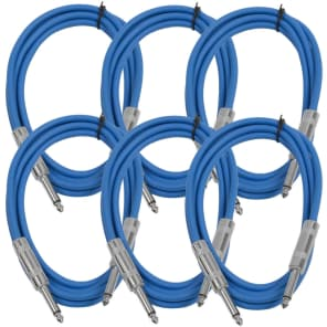 """Seismic Audio SASTSX-6BLUE-6PK 1/4"""" TS Instrument/Patch Cable - 6' (6-Pack)"""