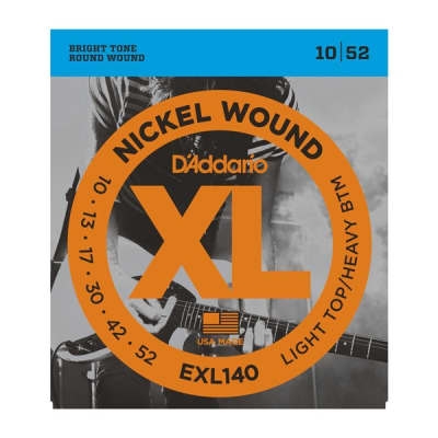 D'Addario XL Nickel Electric Guitar Strings - EXL140 Light Top/Heavy Bottom 10-52