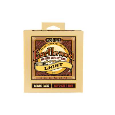 Ernie Ball P03504 Earthwood Light Strings 11-52 Bonus Pack  2+1