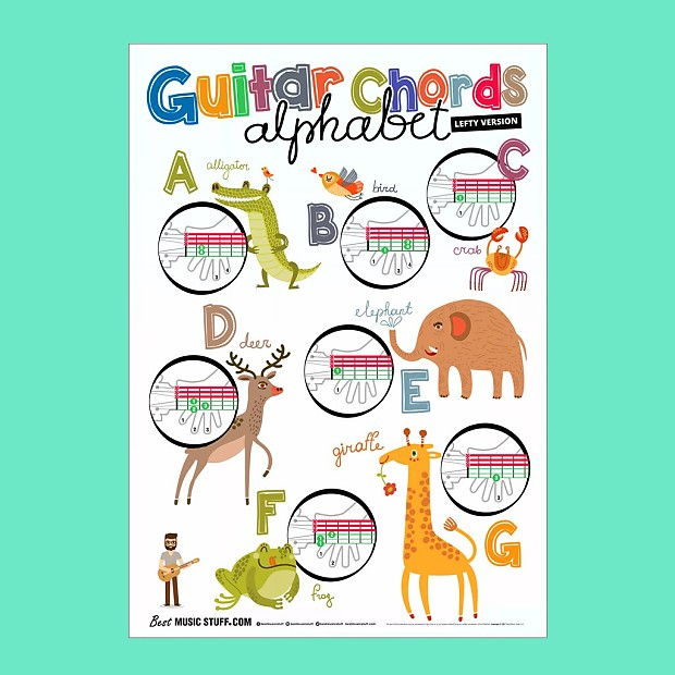 Lefty Version Guitar Chords Alphabet Kids Learning Poster Reverb