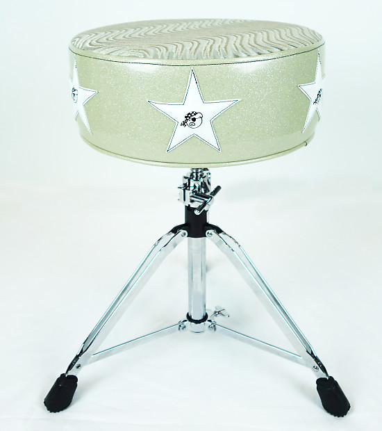 pork pie star drum throne white w white stars reverb. Black Bedroom Furniture Sets. Home Design Ideas