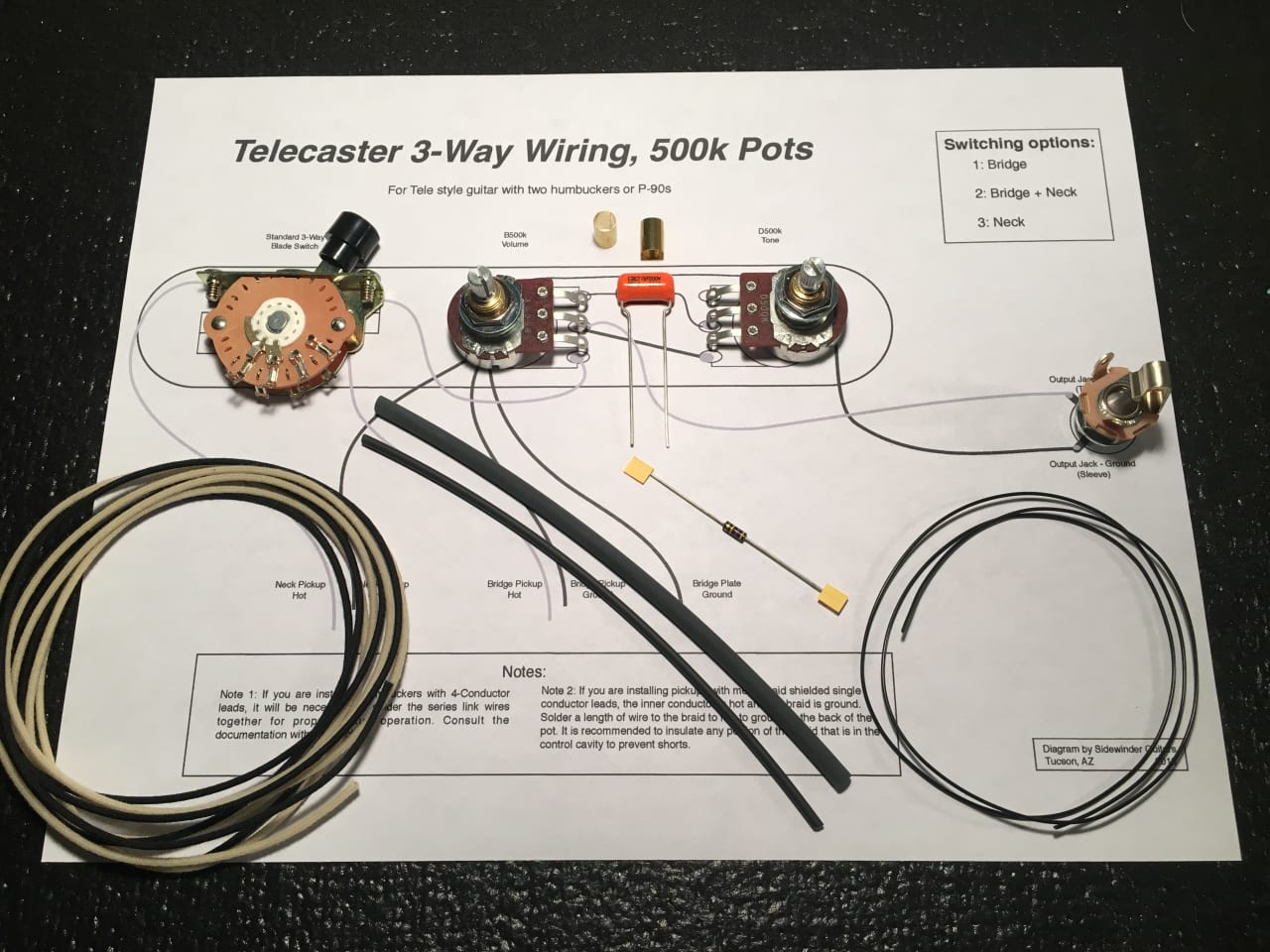 Telecaster 3-Way / 500k Wiring Kit for Humbuckers / P-90s | Reverb