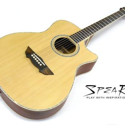 Western-Gitarre / Akustik-Gitarre SPEAR® SC 70 incl. dick gefüttertes Gigbag for sale