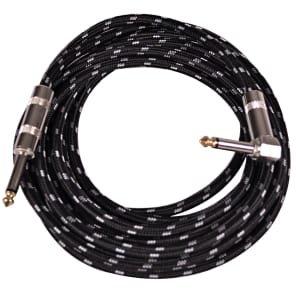 """Seismic Audio SAGCRBK-12 Straight to Right-Angle 1/4"""" TS Woven Cloth Guitar/Instrument Cable - 12"""""""