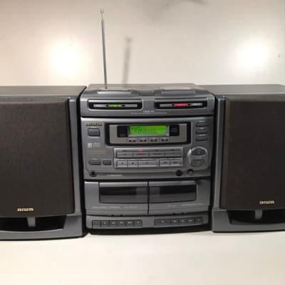 Aiwa CA-DW680M Grey Boombox Twin CD Player Dual Tape Deck Radio