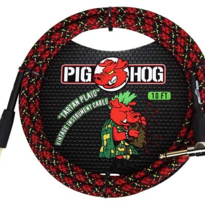 Pig Hog 10 Foot Tartan Plaid Instrument Cables with Angled End