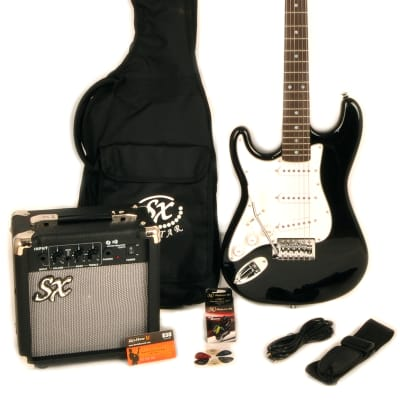 SX Left Handed 3/4 Size Beginner Electric Guitar Package w/Amp Carry Bag & Strap SX RST 3/4 BK LH for sale