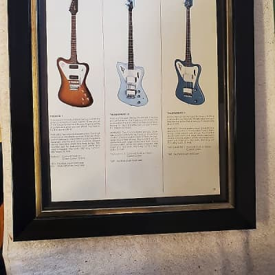 1966 Gibson Guitars Color Promotional Ad Framed Custom Color Thunderbird II & IV Basses Original